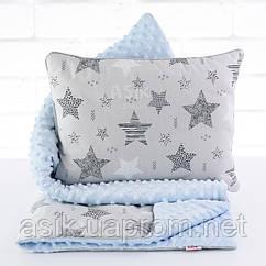 Плед и подушка с геометрическими звёздами серо-голубого цвета