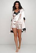 Шелковый комплект майка шортики и халатик, фото 2