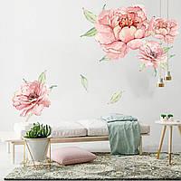 3D интерьерные виниловые наклейки на стены Пионы - цветы  60-40 см  № 9 в детскую .Обои