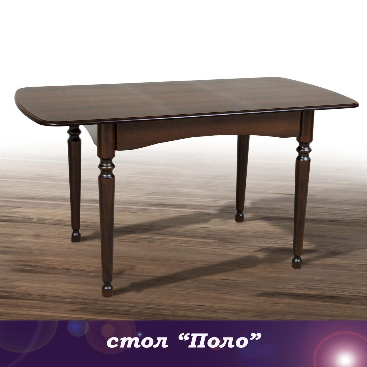 Стол кухонный обеденный раскладной Поло 108 см - темный орех