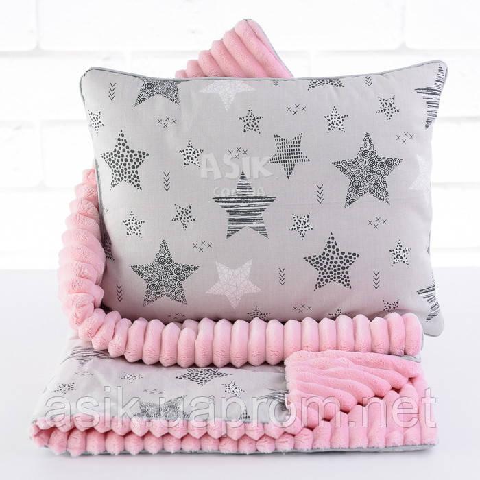 Плед и подушка с геометрическими звёздами серо-розового цвета
