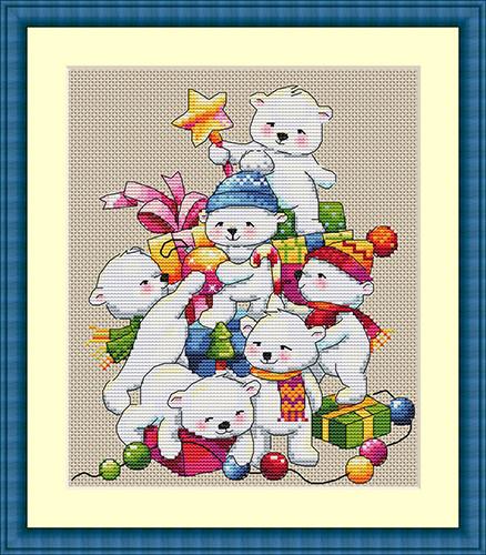 """Набор для вышивания крестом """"Рождественские мишки"""" Мережка"""