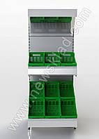 Металлический овощной торговый стеллаж 2100 * 950 мм приставной, фото 1