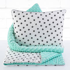 Плед и подушка с чёрными лапками мятного цвета