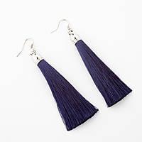 Сережки Кисті темно Синій L - 8см колір металу срібло