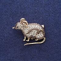 Брошь Крыса символ года 38х30мм желтый металл