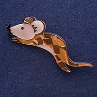 Брошь Мышь символ года из перламутра 75х24мм серый металл