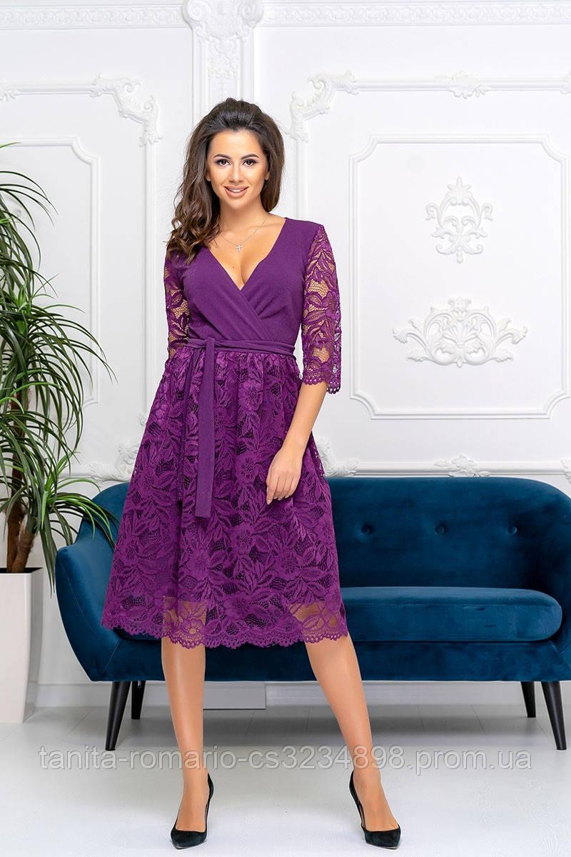 Коктейльное платье 9198 Фиолетовый S M L