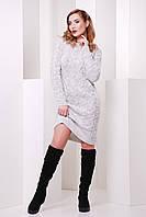 Зимнее теплое платье крупной вязки с длинным рукавом цвет светло-серый