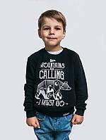 Детская теплая кофта с вышивкой для мальчика черного цвета «Mountains Kids»