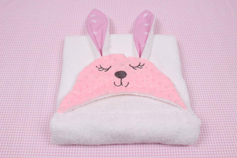 Полотенце для купания зайка  детское белое