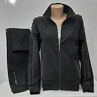 Женский спортивный костюм, Турция, Metca, чёрный с камнями.