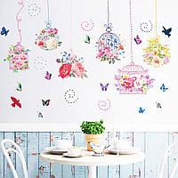 3D интерьерные виниловые наклейки на стены Цветы Пионы - Розы - Бабочки - Птицы 90-60 см  в детскую .Обои