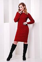 Демисезонное черное платье до колен вязаное длинный рукав, фото 3