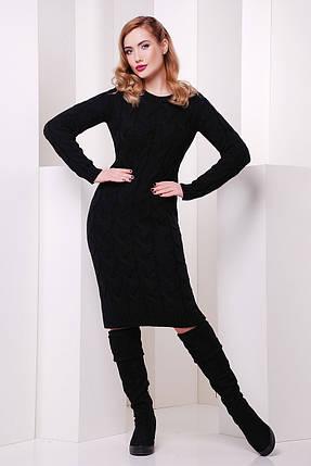 Демисезонное черное платье до колен вязаное длинный рукав, фото 2