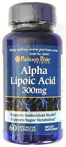 Антиоксидант, поліпшення метаболізму Puritan's Pride Alpha Lipoic Acid 300 mg 60 caps