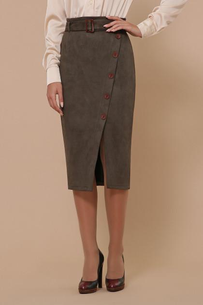 Юбка высокая посадка модная юбка под замшу выше колена на пуговицах спереди 44-50