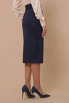 Юбка высокая посадка модная юбка под замшу выше колена на пуговицах спереди 44-50, фото 2