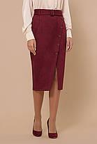 Юбка высокая посадка модная юбка под замшу выше колена на пуговицах спереди 44-50, фото 3