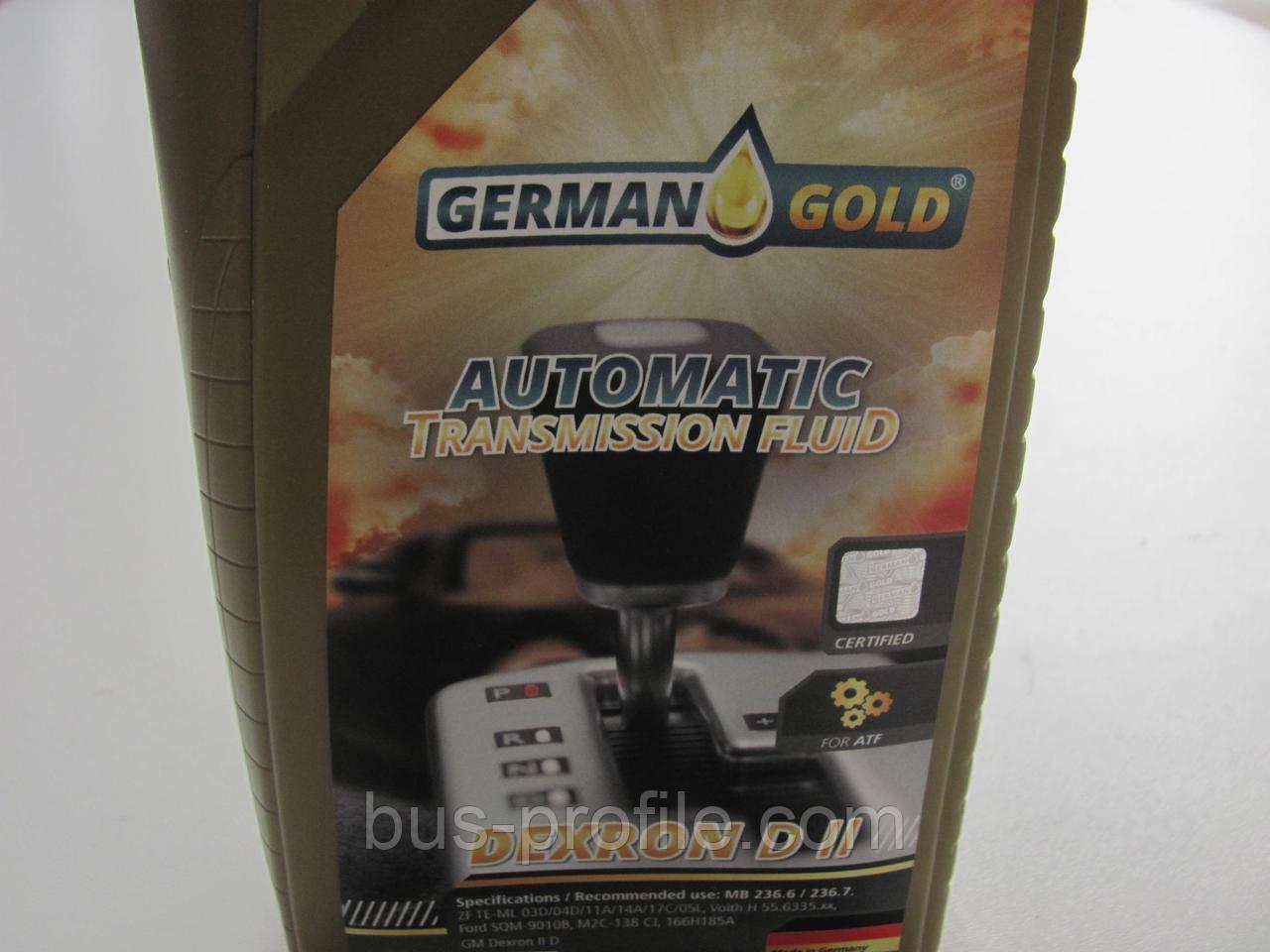 Масло ATF Dexron D II (1L) (Allison C3/C4/MB 236.6 236.7/Ford SQM-9010B/M2C-138 CJ) — GERMAN GOLD — 501012000