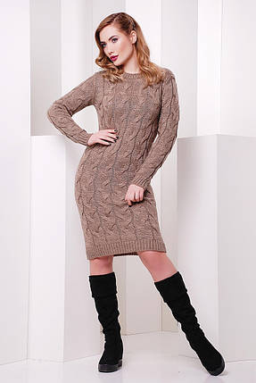 Вязаное платье на каждый день нежного цвета капучино, фото 2