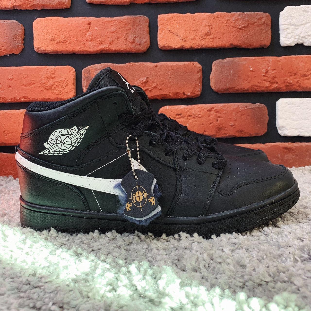 Кеды на меху кожа премиум Найк аир Джордан мужские черные зима (реплика) Nike Air Jordan Black
