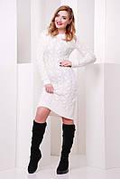 Нежное вязаное платье с круглым вырезом плотная вязка цвет белый