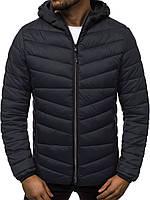Куртка мужская демисезонная стеганая черного цвета с капюшоном