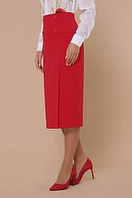 Красная офисная Юбка высокая посадка классика офис ниже колена костюмная ткань 44-50