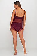 Женская бордовая шелковая пижама с прозрачной спинкой, фото 2