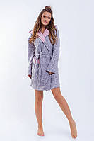 """Флисовый женский домашний халат """"DROP"""" с капюшоном (3 цвета)"""