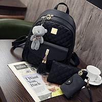 Рюкзак стеганый 3в1 с брелочком опт, фото 1