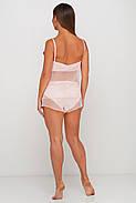 Персиковая шелковая пижама с прозрачной спинкой, фото 2