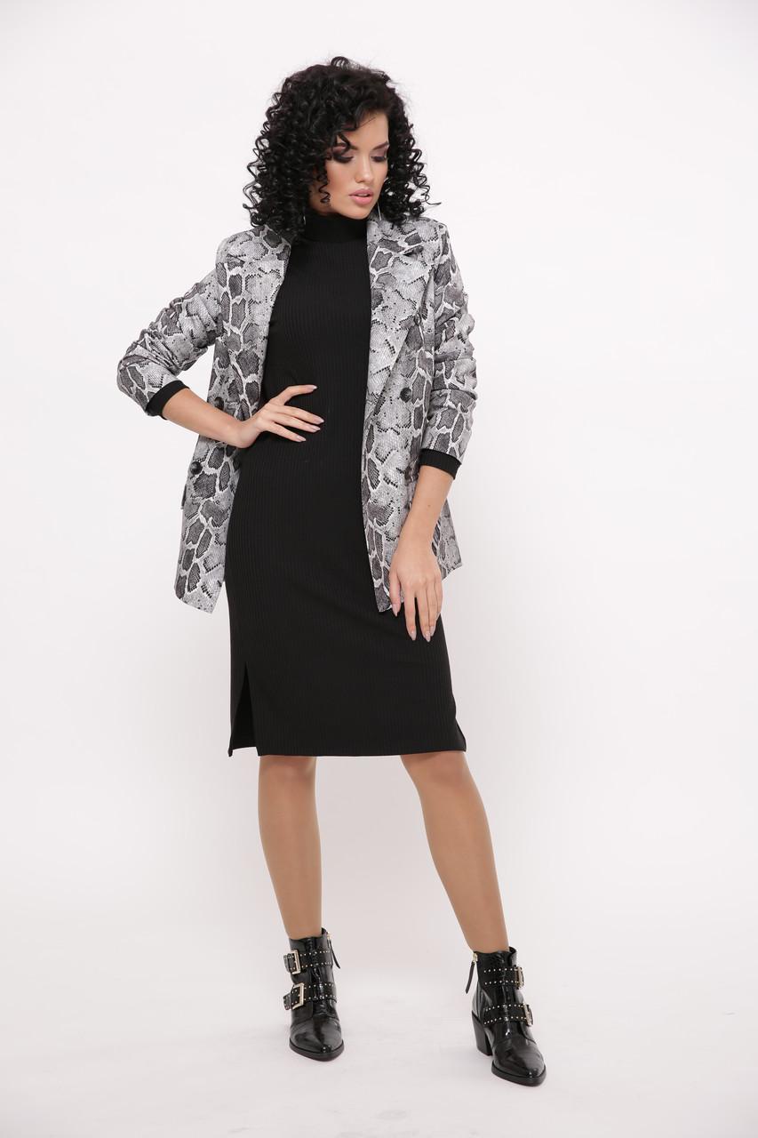 Женское трикотажное платье миди с разрезами в рубчик «Карина»