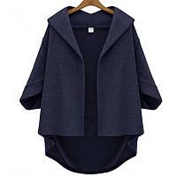 Кейп пальто женский синее большого размера