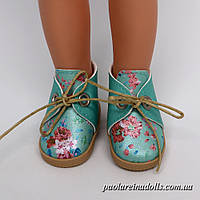 Ботиночки бирюзовые цветочки для кукол Паола Рейна