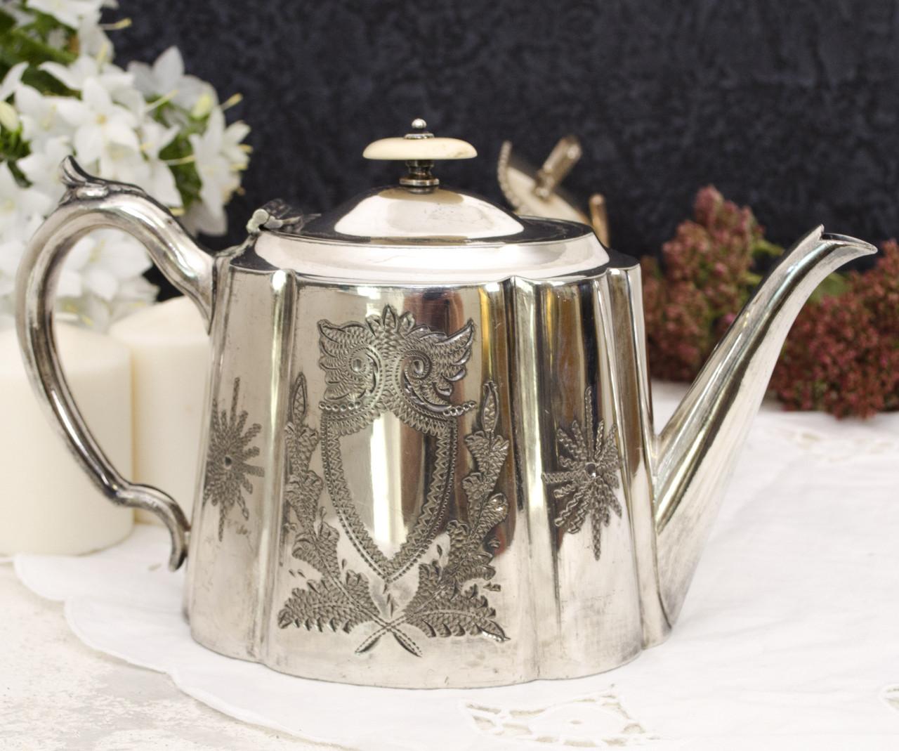 Посеребренный заварник, заварочный чайник, серебрение, мельхиор, винтаж, Англия