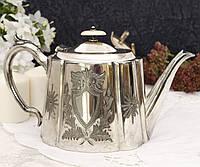 Посеребренный заварник, заварочный чайник, серебрение, мельхиор, винтаж, Англия, фото 1