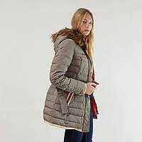 Куртка пуховик зимний женский Snowimage с капюшоном и натуральным мехом 44 оливковый 322-6184