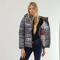 Куртка пуховик короткий женский Snowimage с капюшоном 42 серый 118-9174