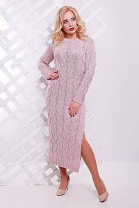 Теплое зимнее платье на каждый день длинный рукав цвет пудровый