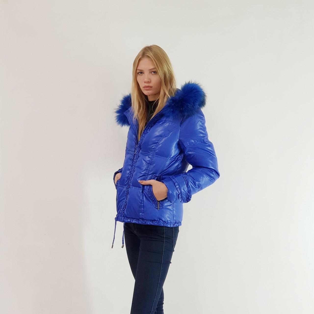 Куртка пуховик зимний женский Snowimage с капюшоном и натуральным мехом 44 синий 105