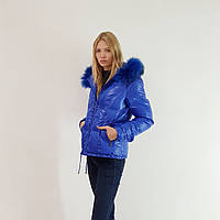 Куртка пуховик зимний женский Snowimage с капюшоном и натуральным мехом 44 синий 105, фото 1
