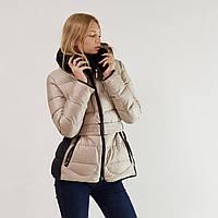 Куртка пуховик зимний короткий женский Snowimage с капюшоном и натуральным мехом 46 бежевый 332-6186