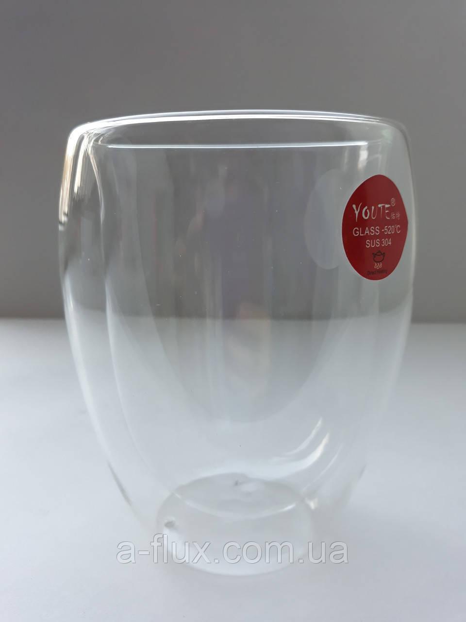 Стакан для кофе и чая с двойной стенкой без ручки стекло 300мл Гейша 16780-4
