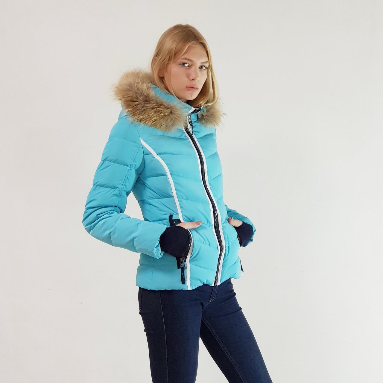 Куртка пуховик зимний короткий женский Snowimage с капюшоном и натуральным мехом 44 голубой 306-3249