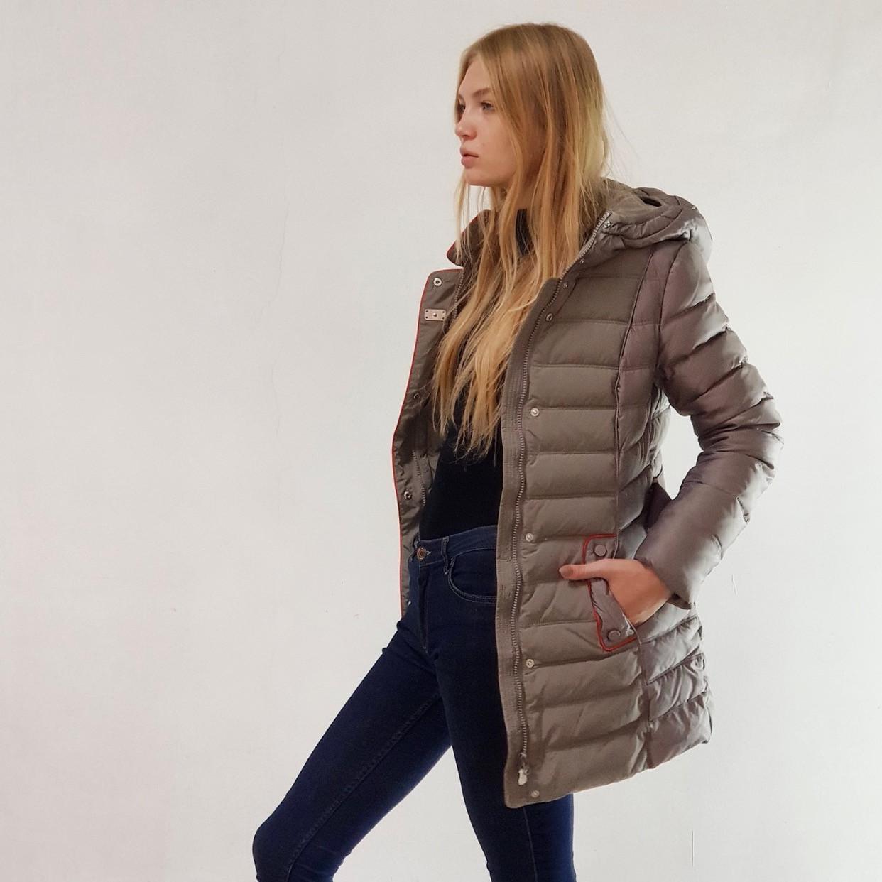 Куртка пуховик зимний женский Snowimage с капюшоном 50 оливковый 302-6184