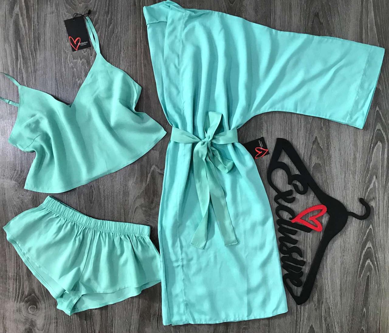 Хлопковый халат женский + пижама, комплект для дома штапель