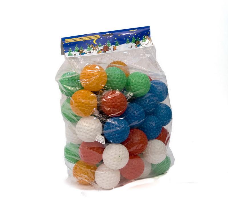 Светодиодная гирлянда пластиковые шарики, 50Л разноцветная (050017)
