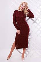 Яркое осенне платье на каждый день с круглым вырезом и длинным рукавом цвет темно-розовый, фото 3
